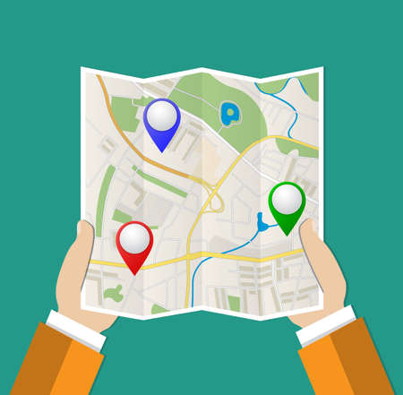 folded hand: Folded Paper Map with color point markers In Hand, Abstract generic city map with roads, buildings, parks, river and with pin pointers. Vector Illustration in flat design on green background