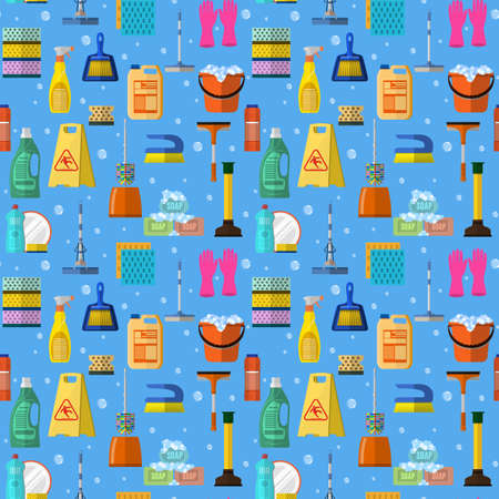 house clearance: Cleaning washing housework dishes broom bottle sponge icons seamless pattern vector illustration. Background for backdrop to site, textile printing and wrapping paper. Illustration