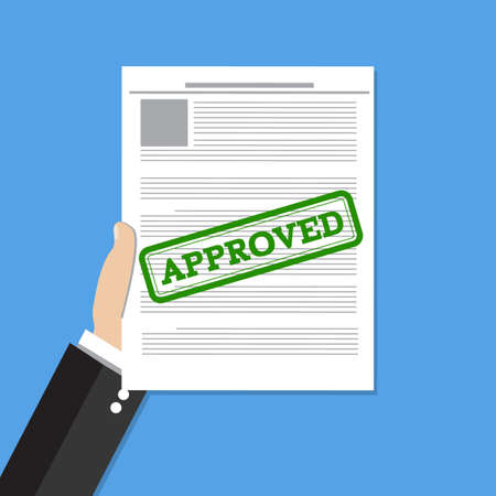 permit: Hand holds approved document. Job application approved. Vector flat illustration