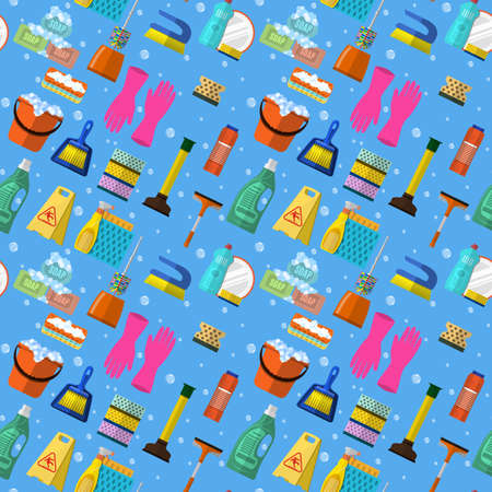 Cleaning washing housework dishes broom bottle sponge icons seamless pattern vector illustration. Background for backdrop to site, textile printing and wrapping paper. Illustration