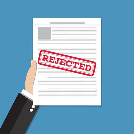 손을 거부 된 문서를 보유하고있다. 작업 응용 프로그램이 거부되었습니다. 벡터 평면 일러스트