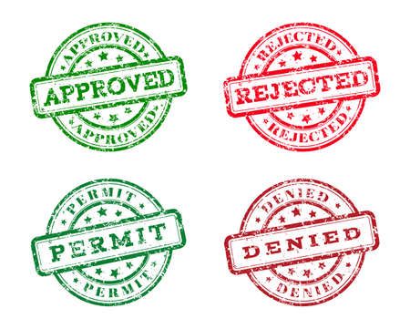 qualify: Green approved, permit logo stamp and red rejected, denied logo stamp. grunge style on white background. vector illustration. template for web design. infographics