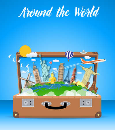 open road: Trip to World. Travel to World. Vacation. Road trip. Tourism. Travel banner. Open suitcase with landmarks. Journey. Travel and adventure template, travel time. vector illustration in flat design