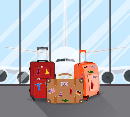 packed: Travel suitcases in airport with a plane in background. Travel, Business trip concept. Vector illustration in flat design. travel and vacations concept