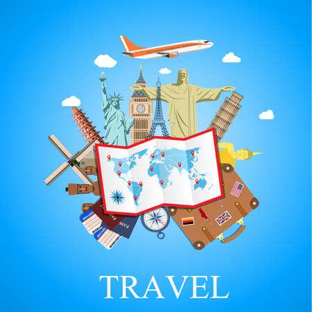 turismo: Viajar por avión. Viajes mundiales. La planificación de las vacaciones de verano. Vacaciones de verano. El turismo y el tema de vacaciones. ilustración vectorial en diseño plano. el concepto de viaje y vacaciones
