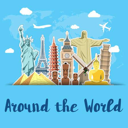 World landmarks sticker icons set with sky scrapbook background vector illustration
