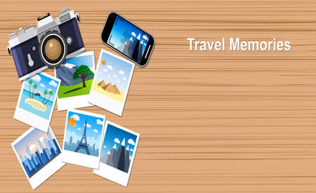 memories: travel memories.  picture of photocamera, smartphone and photographs, vector illustration in flat design banners. travel and vacations concept