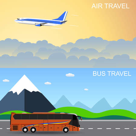 moving in: Travel panorama banners. flat style banners, flying plain above the sky, moving bus in front of mountains. vector illustration in flat design. travel and vacations concept