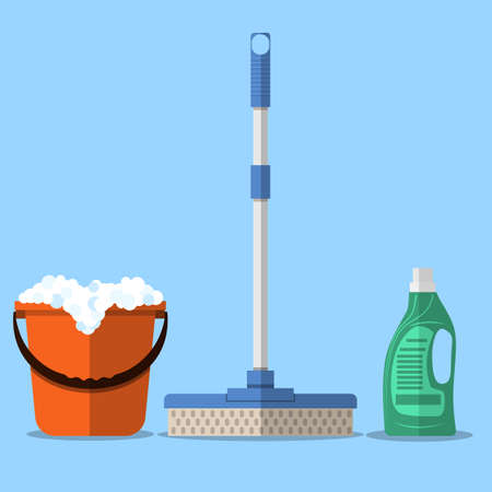 mop floor: Cleaning set. MOP, red plastic bucket with foam, cleaning products in bottle for floor. vector illustration in flat design on blue background