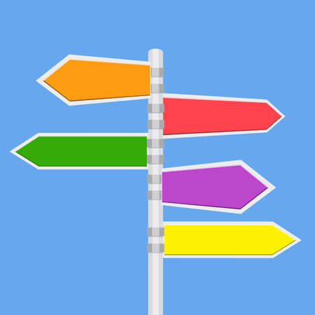 indicator board: Direction road signs - arrows on blue sky. vector illustration in flat design