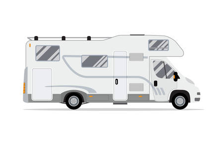 Rv mobile home truck. Traveler truck flat vector icon. Recreational motor home vehicle. Camping trailer family caravan. Motorhome trailer car. vector illustration in flat design