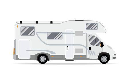 Rv Wohnmobil LKW. Traveler LKW flach Vektor-Symbol. Freizeitmobil Fahrzeug. Campinganhänger Familien-Caravan. Wohnmobil Beiwagen. Vektor-Illustration in flaches Design