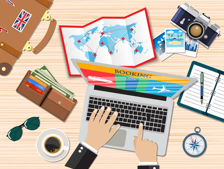 Travel planning. Man with laptop planning vacation, booking tickets. Desk with elements of travel. Banner travel. Flat design vector illustration.  travel and vacations concept Illustration
