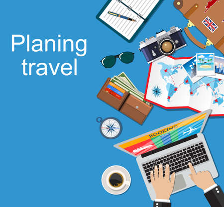 Travel planning. Vacation, trip, holiday concept. Banner travel.  Flat design vector illustration.  travel and vacations concept. Booking car  air  hotel.