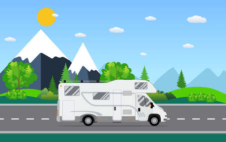 family van: Family traveler truck driving on the road. Outdoor journey camping traveling vacation concept poster card. RV caravan motorhome van on countryside background landscape. Flat vector illustration.