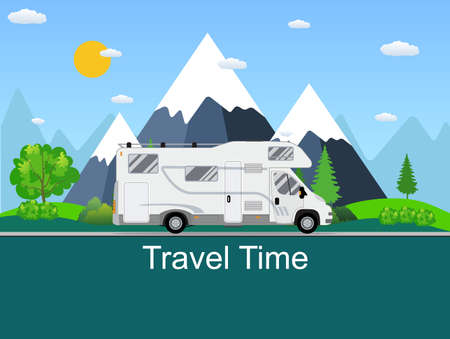 family van: Caravan van driving on the road in the background of rural landscapes. RV Family trip to nature. Camping in the woods mountains in the background. Flat design vector illustration.  travel concept