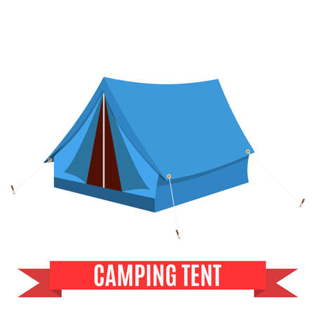 Camping tent vector icon. Tourist hiking equipment isolated on white background. blue color cartoon tent pictogram. Flat design vector illustration