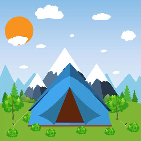 expedition: Tent Camping Tourist Forest Mountain Expedition. travel and vacation concept. vector illustration in flat design