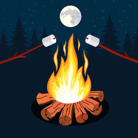 night stick: Bonfire with marshmallow, camping grill marshmallow vector illustration. Marshmallow outdoor, campfire night, food marshmallow stick. Vector illustration in flat design. Illustration