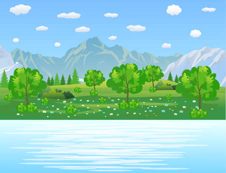 nature vector: Summer landscape with meadows and mountains. River and the forest, nature landscape, vector background. vector illustration in flat design