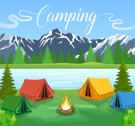 Vector flat illustration camping. Nature background with grass, forest, mountains and hills. Outdoor activities. Tent and fire camp Vettoriali