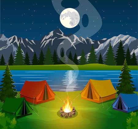 Un cartel que muestra a un camping con una fogata. Vector tema plana de Escalada, trekking, senderismo, marcha. Deportes, camping, aventuras en la naturaleza, de vacaciones. Moderno diseño plano. Campo de la noche.