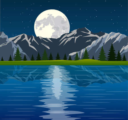 reflected: Full moon and group of pine trees reflected in calm still water with mountains on a night starry sky