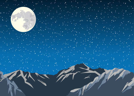 trek: Vector background. Mountains in the background of the sky and moon. Flat design vector illustration. Illustration