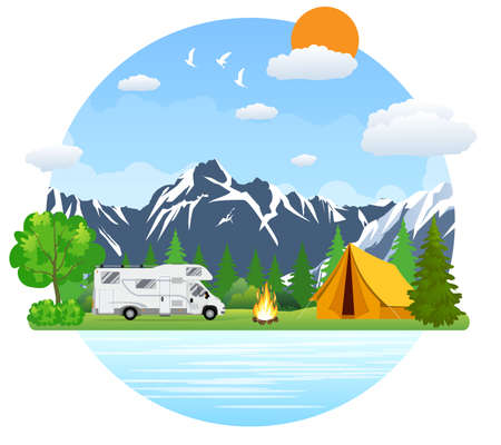 campsite: Campsite place in mountain lake. Forest camping landscape with rv traveler bus in flat design. Summer camp place with camper caravan vector illustration. National park area auto travel campground.