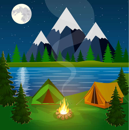 campsite: A poster showing a campsite with a campfire. Vector flat theme of Climbing, Trekking, Hiking, Walking. Sports, Camping, adventures in nature, vacation. Modern flat design. night camp.