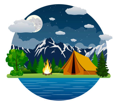 solitude: Summer landscape tent and bonfire in mountains near lake. Solitude in nature by the river. Weekend in the tent. Hiking and camping. vector illustration in flat design. night camp. Illustration