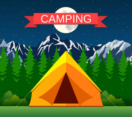 clearing: Tourist tent on a clearing located under the moon and stars on the background of mountain and wood. vector illustration in flat design