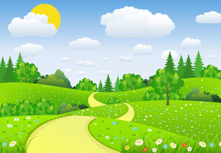 Summer landscape with meadows and flowers. Road and forest, nature landscape, vector background. vector illustration in flat design Illustration