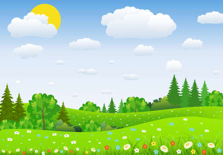 uncultivated: Summer landscape with meadows and flowers. forest, nature landscape, vector background. vector illustration in flat design