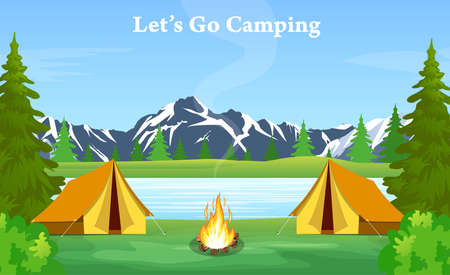 encampment: Vector flat web banner on the theme of Climbing, Trekking, Hiking, Walking. Sports, Camping, outdoor recreation, adventures in nature, vacation. vector illustration in flat design