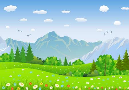 Paisaje de verano con prados y montañas. bosque, paisaje de la naturaleza, vector de fondo. ilustración vectorial en diseño plano Foto de archivo - 57237882