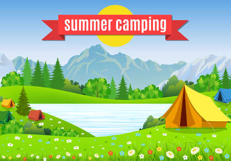 outdoor activities: tourist tent and green blossom meadow, mountains on a cloudy sky. Summer camping. Natural vector landscape. vector illustration in flat design. Outdoor activities. Tent and fire camp