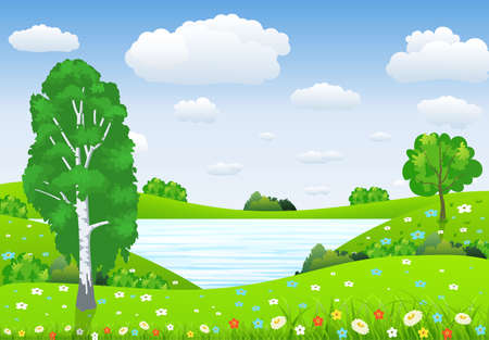 Summer landscape with meadows and flowers. lake and forest, nature landscape, vector background. vector illustration in flat design
