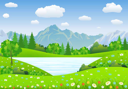 sky and grass: Summer landscape with meadows and mountains. lake and forest, nature landscape, vector background. vector illustration in flat design