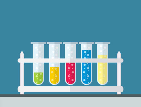 five multicolor test tubes with green, blue, orange, yellow and red bubbling sparkling liquid in rack. Science, education, chemistry, experiment, laboratory concept. vector illustration in flat design