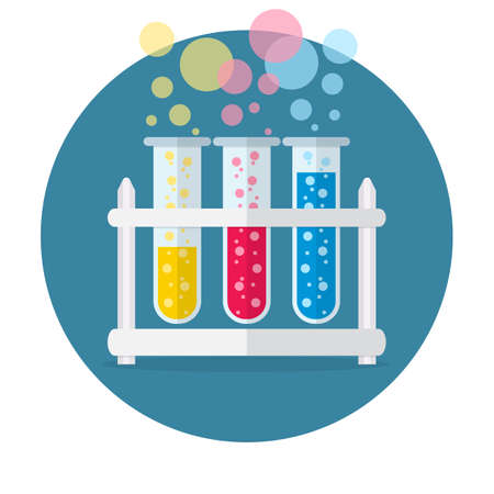 boiling tube: test tubes bubbling sparkling liquid. Science, education, chemistry, experiment, laboratory concept. vector illustration in flat design icon