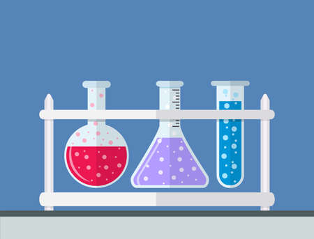 bubbling: multicolor test tubes bubbling sparkling liquid in rack. Science, education, chemistry, experiment, laboratory concept. vector illustration in flat design