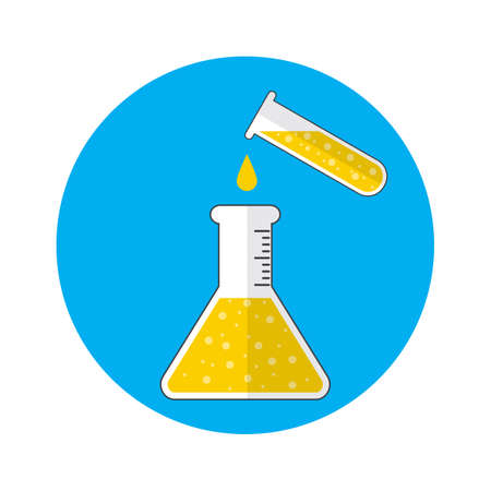 boiling tube: Test tube and flask. Science, education, chemistry, experiment, laboratory concept. vector illustration in flat design icon Illustration