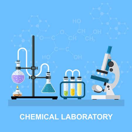 espacio de trabajo de laboratorio de química y concepto de equipo de la ciencia. El fondo químico, bandera, portada. La ciencia, la educación, la química, experimento, el concepto de laboratorio. ilustración vectorial en diseño plano Ilustración de vector