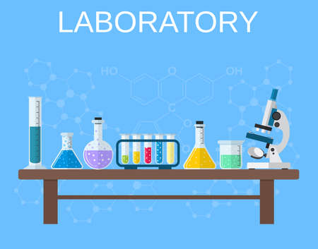 equipment experiment: Chemistry laboratory workspace and science equipment concept. The chemical background, banner, cover. Science, education, chemistry, experiment, laboratory concept. vector illustration in flat design Illustration