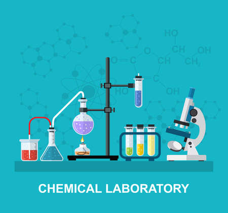 Chemistry laboratory workspace and science equipment concept. The chemical background, banner, cover. Science, education, chemistry, experiment, laboratory concept. vector illustration in flat design Illustration