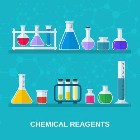 with liquids: test tubes and flasks with colored liquids. Chemical reagents and laboratory utensils. Science, education, chemistry, experiment, laboratory concept. vector illustration in flat design