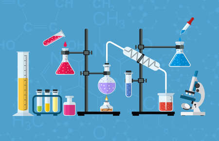 Chemistry laboratory workspace and science equipment concept. The chemical background, banner, cover. Science, education, chemistry, experiment, laboratory concept. vector illustration in flat design Stock Illustratie