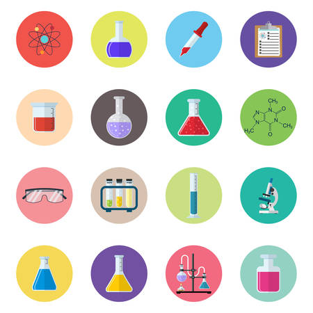 reagent: Chemical icons. Science, education, chemistry, experiment, laboratory concept. vector illustration in flat design Illustration