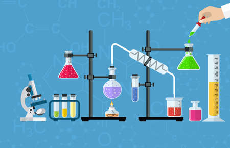 medical equipment: Medical Laboratory. Research, testing, studies in chemistry, physics, biology. laboratory equipment. Hands of doctor with pipette and test tube. Desktop research. Vector illustration flat design. Illustration